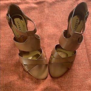 Audrey Brooks Cone Heel Tan Leather Sandals